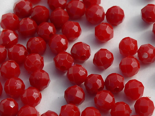 Opaque  Red 6mm Faceted Beads