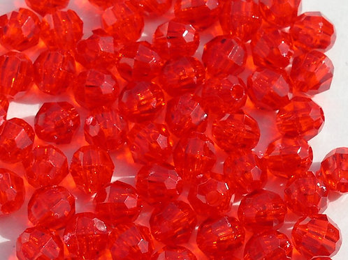 Transparent Xmas Red 10mm Faceted Beads