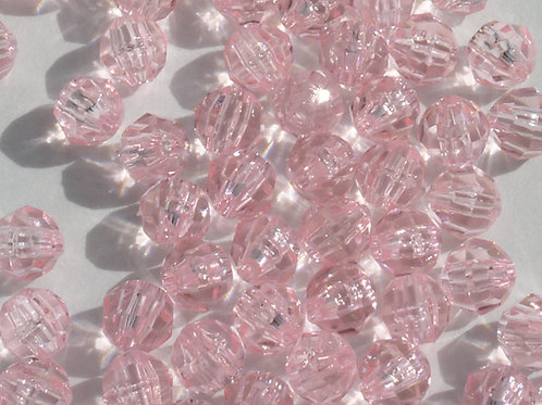 Transparent Baby Pink 4mm Faceted Beads