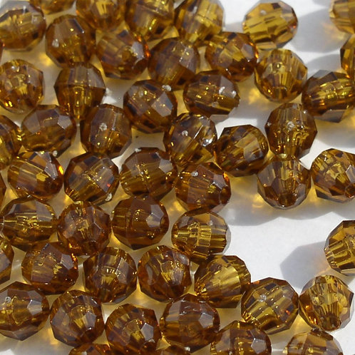 Transparent Amber 8mm Faceted Beads