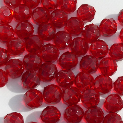 Transparent Ruby 6mm Faceted Beads