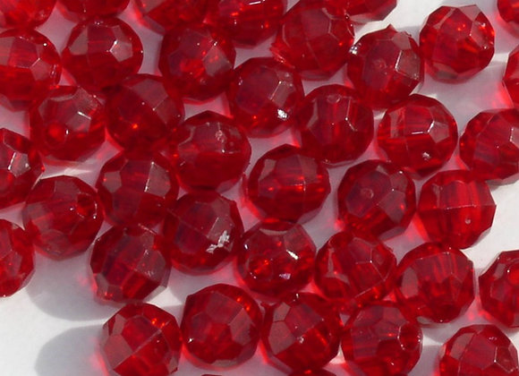 Transparent Ruby 8mm Faceted Beads