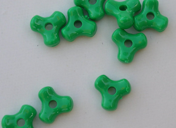 Opaque  Green Tri Beads