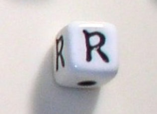 12mm x 12mm Cube Alphabet Beads - R