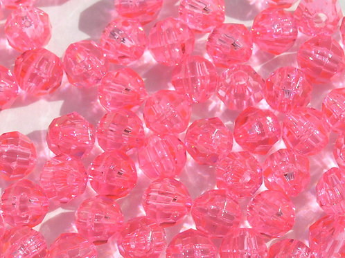 Transparent Hot Pink 6mm Faceted Beads
