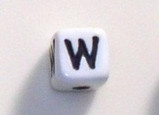 12mm x 12mm Cube Alphabet Beads - W
