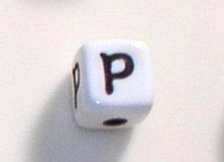 12mm x 12mm Cube Alphabet Beads - P