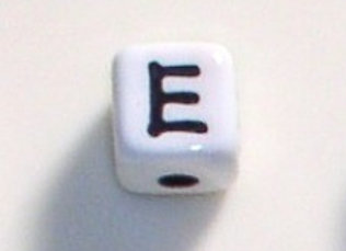 12mm x 12mm Cube Alphabet Beads - E