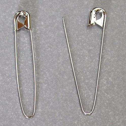"""2.25"""" Silver Coiless Safety Pins"""