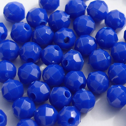 Opaque Royal Blue 4mm Faceted Beads