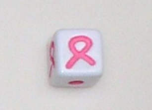 12mm x 12mm Cube Alphabet Beads -Awareness Ribbon