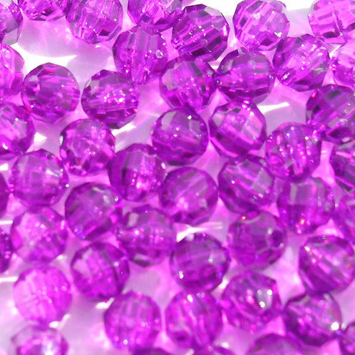 Transparent Dark Amethyst 8mm Faceted Beads