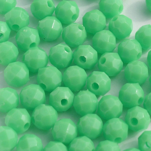 Opaque Lime 8mm Faceted Beads