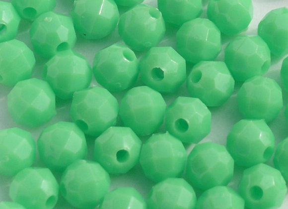 Opaque Lime 12mm Faceted Beads