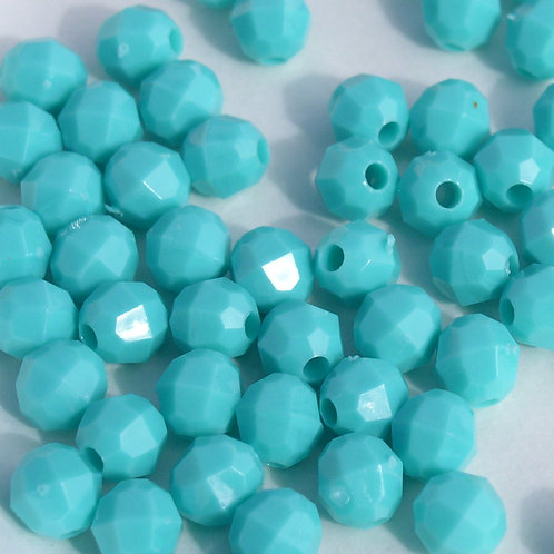 Opaque  Aqua 6mm Faceted Beads