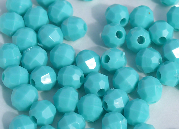 Opaque Aqua 8mm Faceted Beads