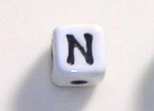 12mm x 12mm Cube Alphabet Beads - N