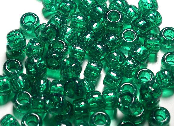 Transparent Christmas Green Glitter Pony Beads