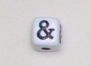 12mm x 12mm Cube Alphabet Beads - &