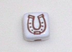 12mm x 12mm Cube Alphabet Beads - Horseshoe