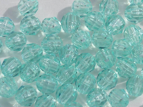 Transparent Sea Mint 12mm Faceted Beads
