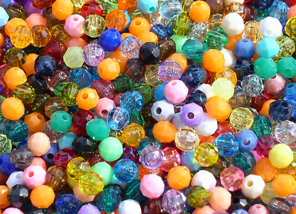 Transparent and Opaque Assorted 10mm Faceted Beads