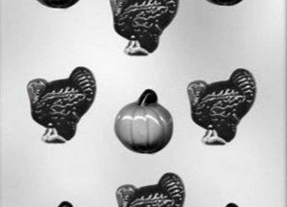 "1 5/8"" Pumpkin & Turkey Chocolate Mold"