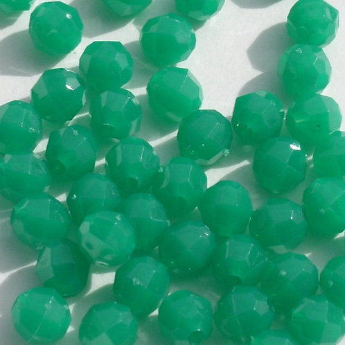 Opaque Green 10mm Faceted Beads