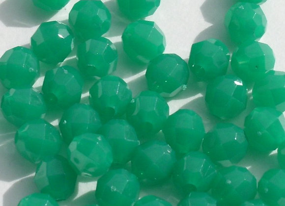 Opaque  Green 6mm Faceted Beads