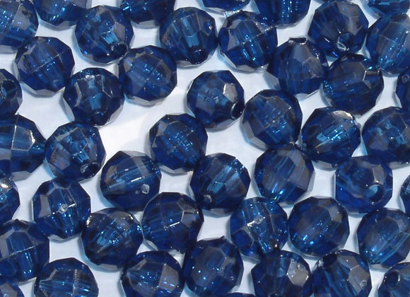 Transparent Midnight Blue 10mm Faceted Beads