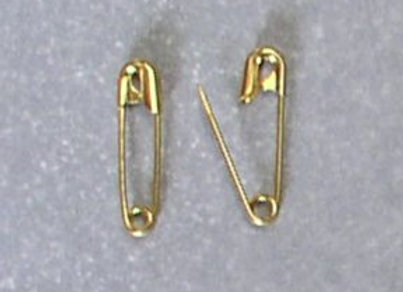 "Size #4  (2 1/4"") Gold Safety Pins"