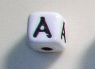 12mm x 12mm Cube Alphabet Beads -A
