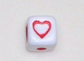 12mm x 12mm Cube Alphabet Beads - Heart