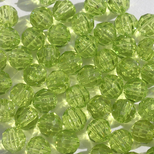Transparent Light Avacado 10mm Faceted Beads