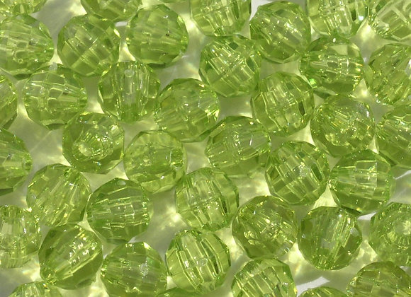 Transparent Light Avocado 10mm Faceted Beads