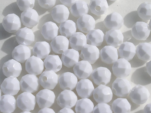 Opaque White 10mm Faceted Beads