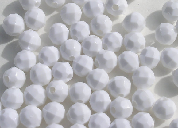 Opaque White 4mm Faceted Beads