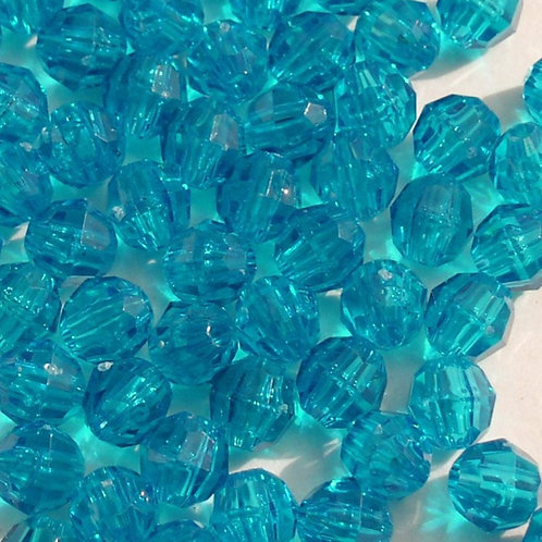 Transparent Teal 10mm Faceted Beads