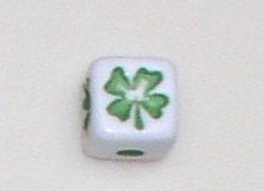 12mm x 12mm Cube Alphabet Beads - Shamrock w/4 Leaf Clover