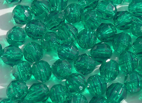 Transparent Xmas Green 8mm Faceted Beads