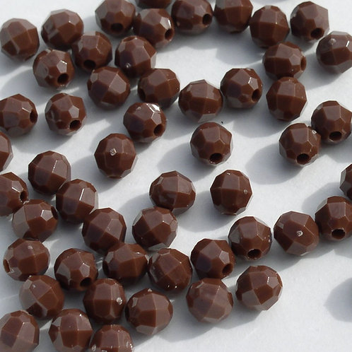 Opaque  Brown 6mm Faceted Beads