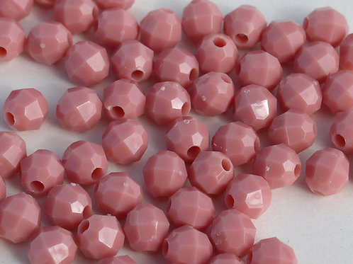 Opaque  Mauve 6mm Faceted Beads