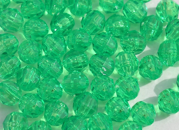 Transparent Mint 10mm Faceted Beads
