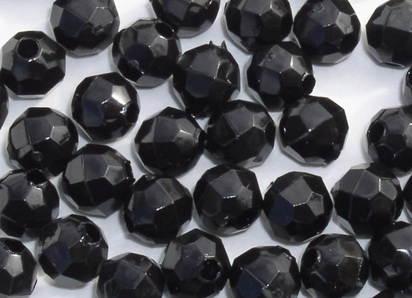 Opaque Black 10mm Faceted Beads