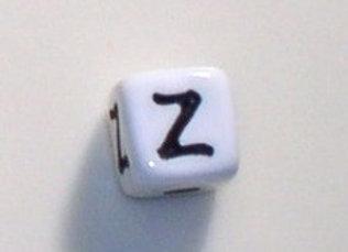 12mm x 12mm Cube Alphabet Beads - Z