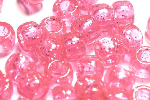 Transparent Pink Glitter Pony Beads
