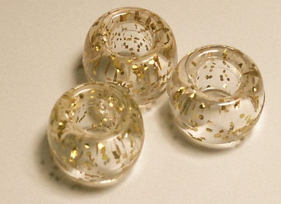 Transparent Glitter Gold Pony Beads