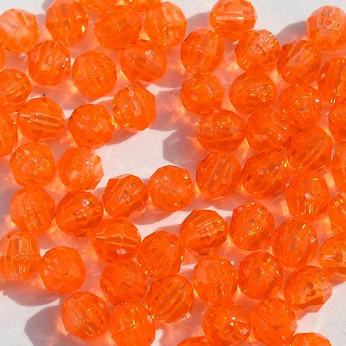 Transparent Bright Orange 6mm Faceted Beads