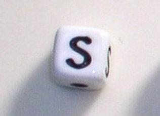 12mm x 12mm Cube Alphabet Beads - S