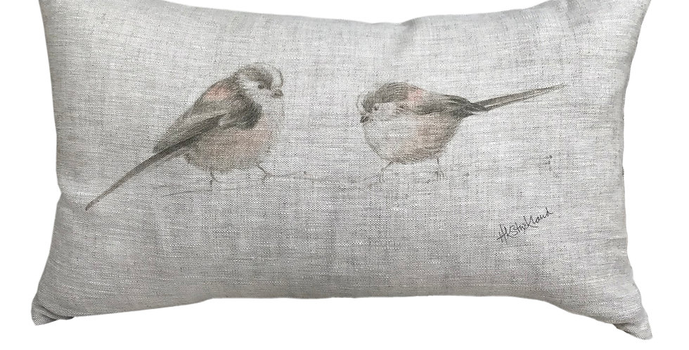 Long Tailed Tits Cushion Cover